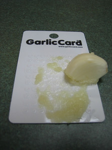 Grating garlic with the garlic card