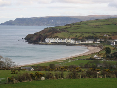 Cushendun and its beach as seen from the Villa Farmhouse