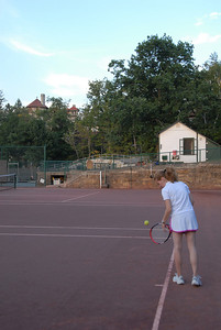 A twilight game on the clay courts of Mohonk