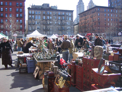 Greenflea in late February, sunshine but fewer vendors