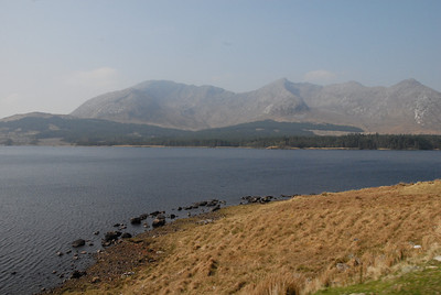 Mountain range and lake in the Connemara, County Galway